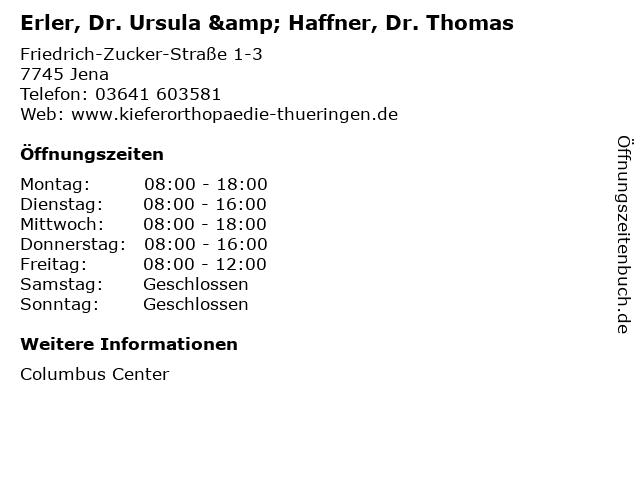Erler, Dr. Ursula & Haffner, Dr. Thomas in Jena: Adresse und Öffnungszeiten