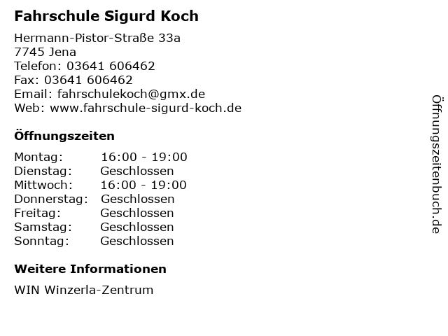 Fahrschule Sigurd Koch in Jena: Adresse und Öffnungszeiten