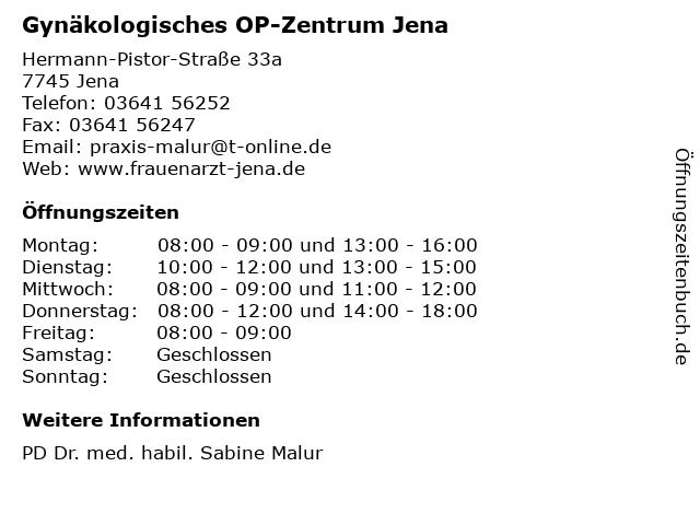 Gynäkologisches OP-Zentrum Jena in Jena: Adresse und Öffnungszeiten
