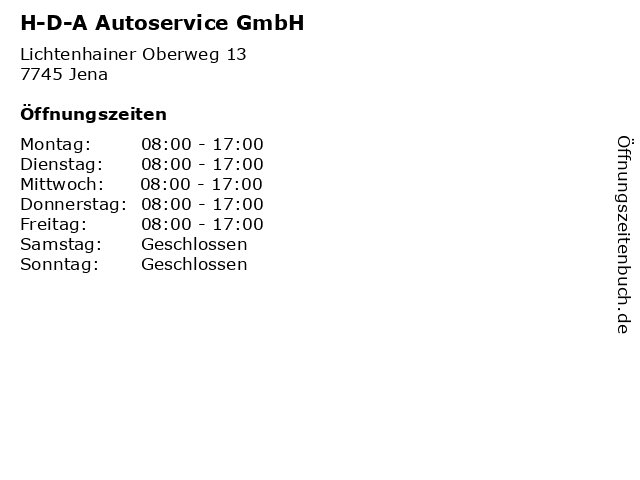 H-D-A Autoservice GmbH in Jena: Adresse und Öffnungszeiten