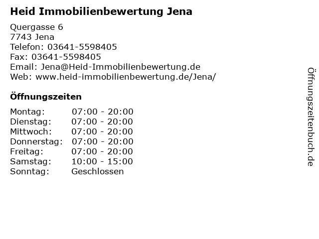 Heid Immobilienbewertung Jena in Jena: Adresse und Öffnungszeiten