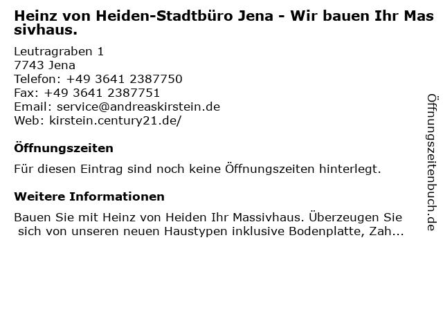 Heinz von Heiden-Stadtbüro Jena - Wir bauen Ihr Massivhaus. in Jena: Adresse und Öffnungszeiten