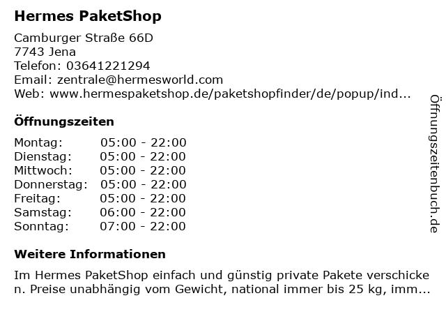 Hermes PaketShop in Jena: Adresse und Öffnungszeiten