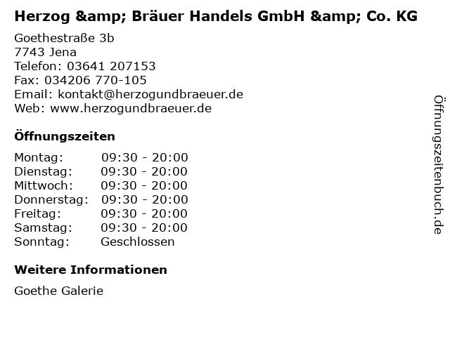 Herzog & Bräuer Handels GmbH & Co. KG in Jena: Adresse und Öffnungszeiten
