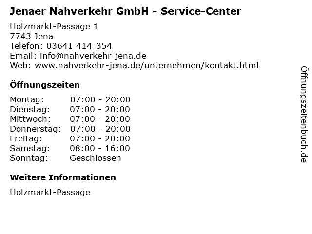 Jenaer Nahverkehr GmbH - Service-Center in Jena: Adresse und Öffnungszeiten