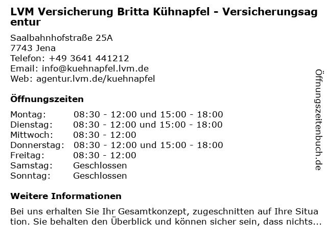 LVM Versicherung Britta Kühnapfel - Versicherungsagentur in Jena: Adresse und Öffnungszeiten