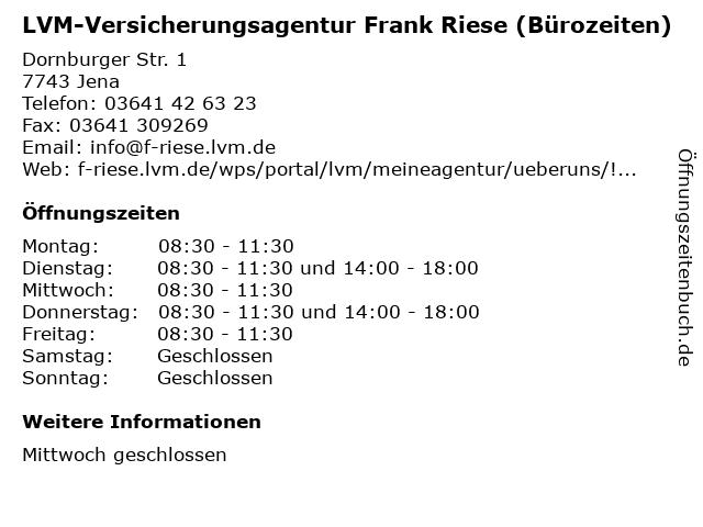 LVM-Versicherungsagentur Frank Riese (Bürozeiten) in Jena: Adresse und Öffnungszeiten
