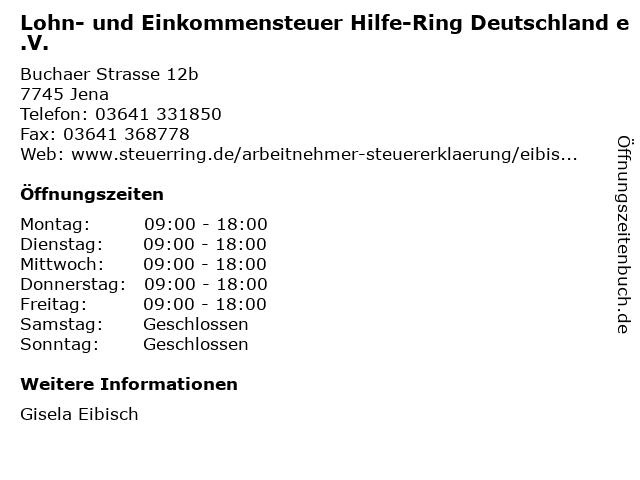 Lohn- und Einkommensteuer Hilfe-Ring Deutschland e.V. in Jena: Adresse und Öffnungszeiten