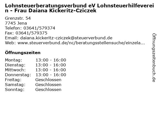 Lohnsteuerberatungsverbund eV Lohnsteuerhilfeverein - Frau Daiana Kickeritz-Cziczek in Jena: Adresse und Öffnungszeiten