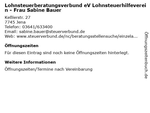 Lohnsteuerberatungsverbund eV Lohnsteuerhilfeverein - Frau Sabine Bauer in Jena: Adresse und Öffnungszeiten
