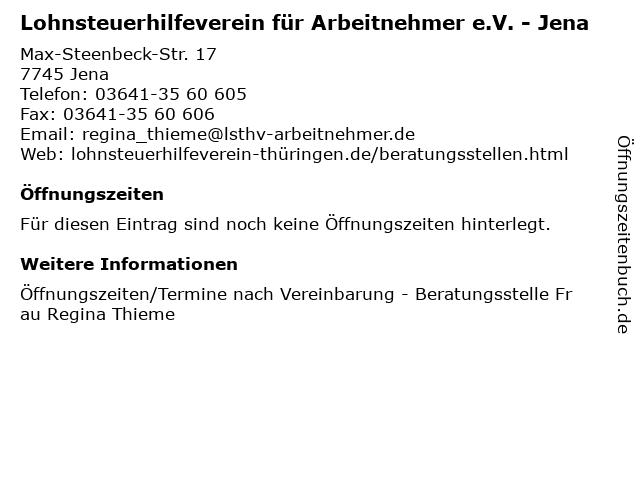 Lohnsteuerhilfeverein für Arbeitnehmer e.V. - Jena in Jena: Adresse und Öffnungszeiten