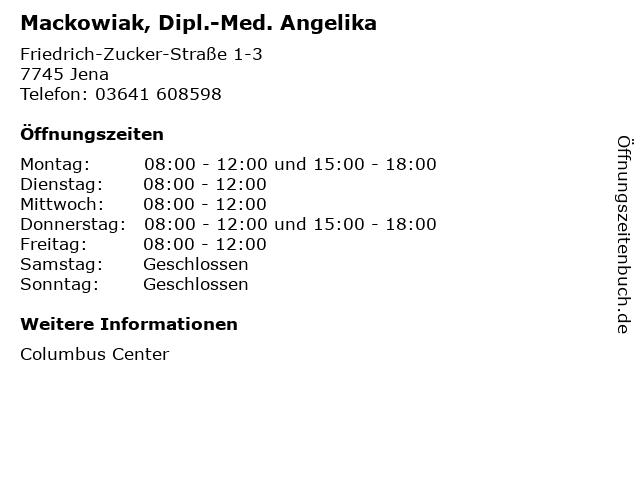 Mackowiak, Dipl.-Med. Angelika in Jena: Adresse und Öffnungszeiten