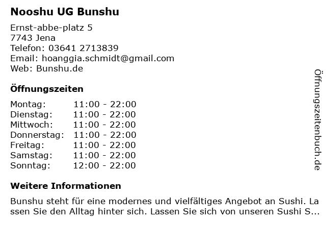 Nooshu UG Bunshu in Jena: Adresse und Öffnungszeiten