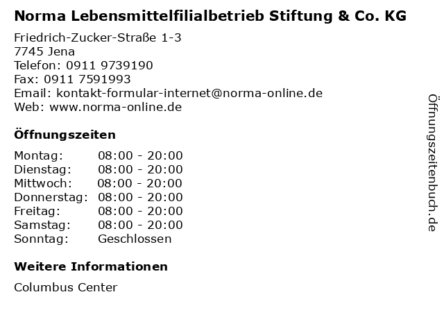 Norma Lebensmittelfilialbetrieb Stiftung & Co. KG in Jena: Adresse und Öffnungszeiten