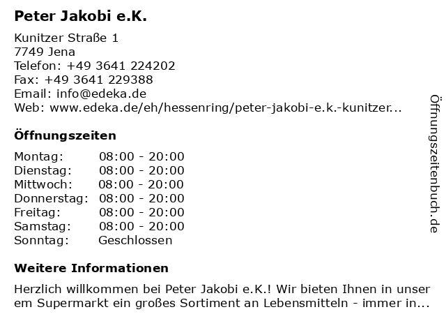 Peter Jakobi e.K. in Jena: Adresse und Öffnungszeiten
