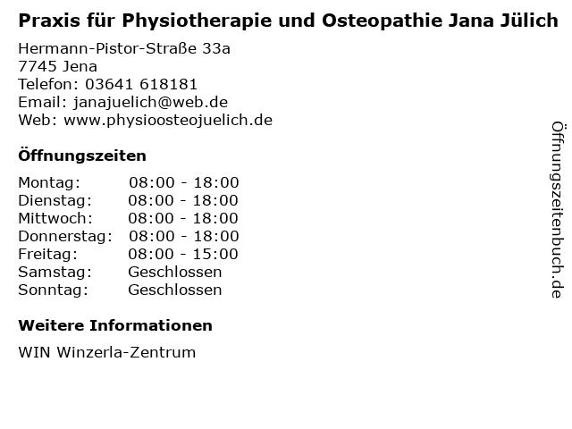 Praxis für Physiotherapie und Osteopathie Jana Jülich in Jena: Adresse und Öffnungszeiten