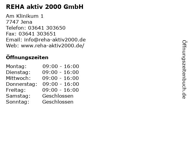 REHA aktiv 2000 GmbH in Jena: Adresse und Öffnungszeiten