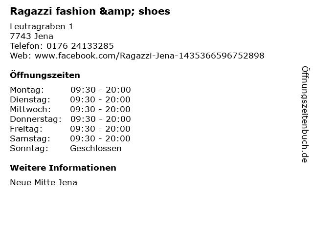 Ragazzi fashion & shoes in Jena: Adresse und Öffnungszeiten