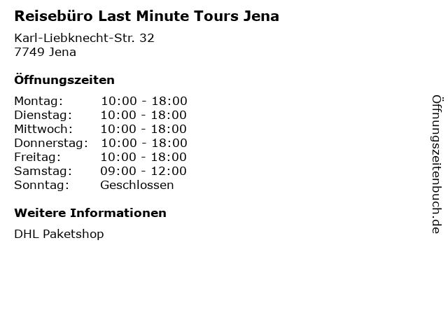 Reisebüro Last Minute Tours Jena in Jena: Adresse und Öffnungszeiten