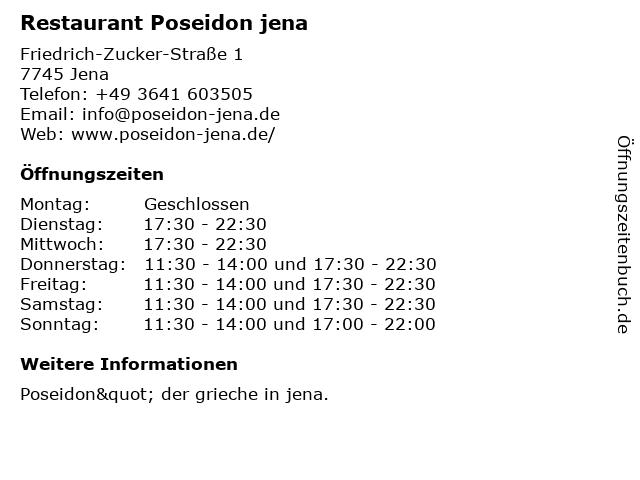 Restaurant Poseidon jena in Jena: Adresse und Öffnungszeiten