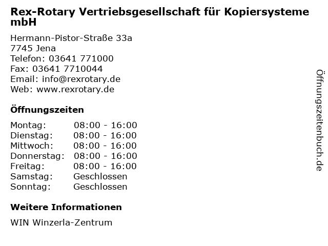 Rex-Rotary Vertriebsgesellschaft für Kopiersysteme mbH in Jena: Adresse und Öffnungszeiten