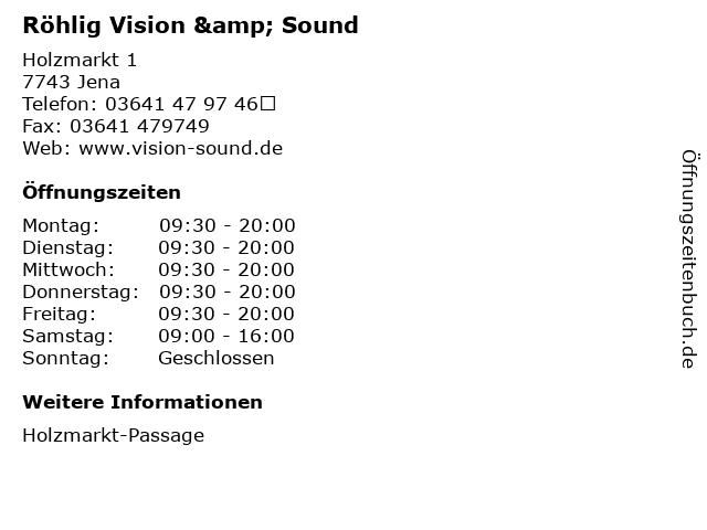 Röhlig Vision & Sound in Jena: Adresse und Öffnungszeiten