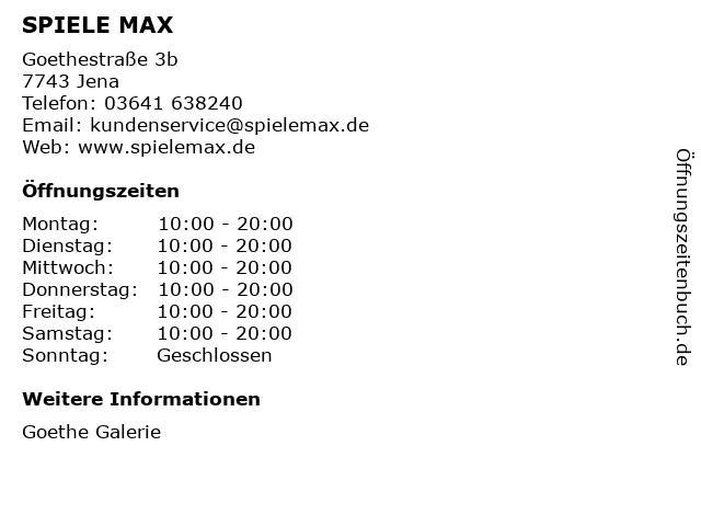 SPIELE MAX AG in Jena: Adresse und Öffnungszeiten