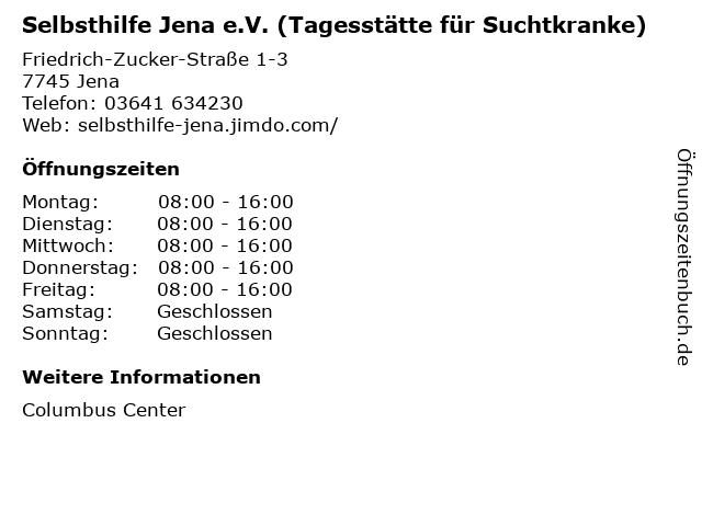 Selbsthilfe Jena e.V. (Tagesstätte für Suchtkranke) in Jena: Adresse und Öffnungszeiten