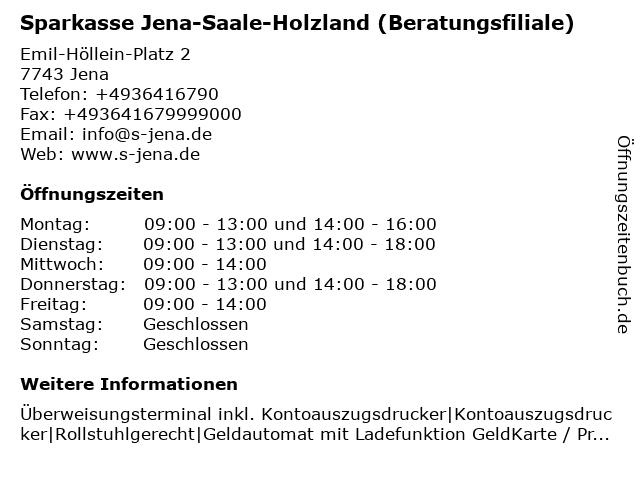 Sparkasse Jena-Saale-Holzland - (Geldautomat Beratungsfiliale) in Jena: Adresse und Öffnungszeiten