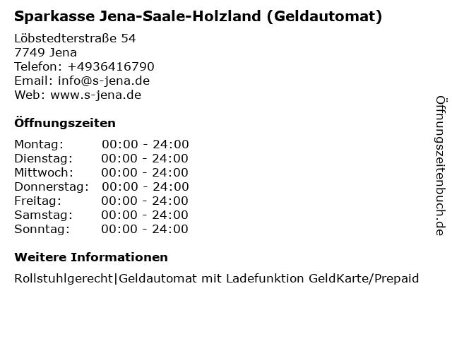 Sparkasse Jena-Saale-Holzland - (Geldautomat Jena-OBI) in Jena: Adresse und Öffnungszeiten