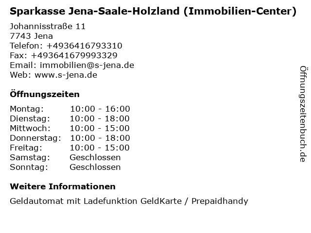 Sparkasse Jena-Saale-Holzland - ImmobilienCenter in Jena: Adresse und Öffnungszeiten