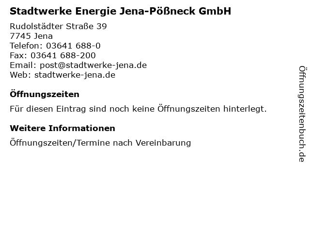 Stadtwerke Energie Jena-Pößneck GmbH in Jena: Adresse und Öffnungszeiten