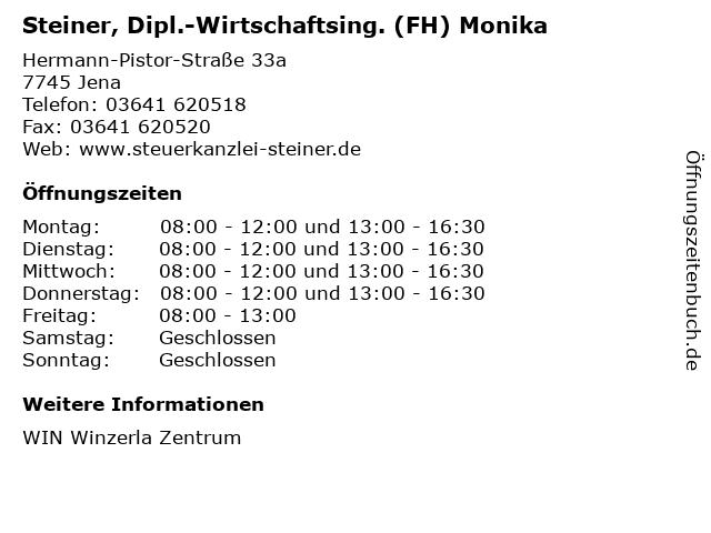 Steiner, Dipl.-Wirtschaftsing. (FH) Monika in Jena: Adresse und Öffnungszeiten