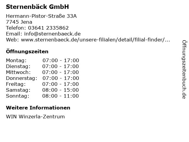 Sternenbäck GmbH in Jena: Adresse und Öffnungszeiten