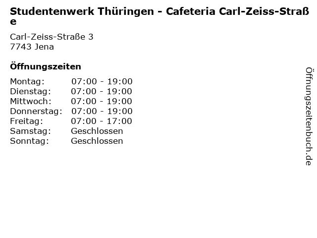 Studentenwerk Thüringen - Cafeteria Carl-Zeiss-Straße in Jena: Adresse und Öffnungszeiten