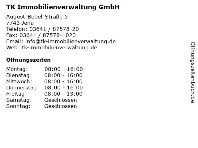 TK Immobilienverwaltung GmbH in Jena: Adresse und Öffnungszeiten
