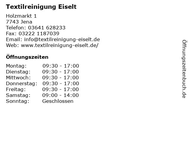Textilreinigung Eiselt in Jena: Adresse und Öffnungszeiten