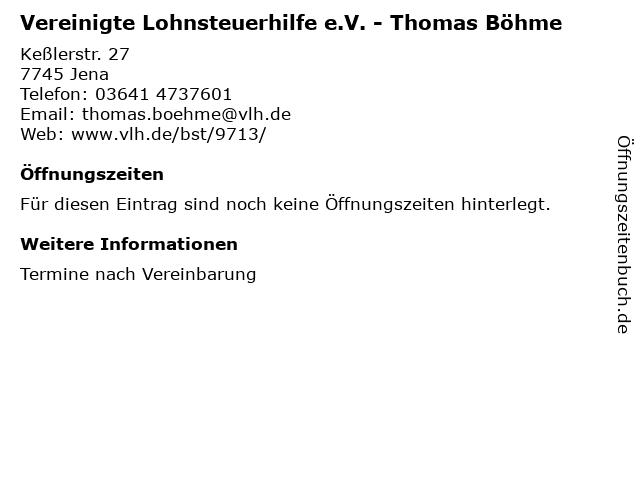 Vereinigte Lohnsteuerhilfe e.V. - Thomas Böhme in Jena: Adresse und Öffnungszeiten