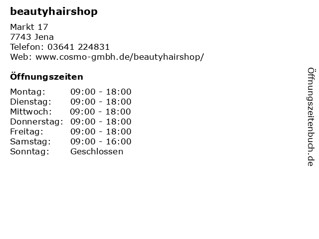 beautyhairshop in Jena: Adresse und Öffnungszeiten