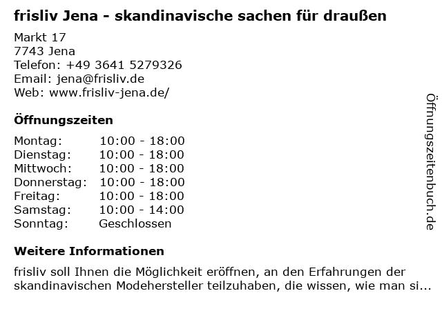 frisliv Jena - skandinavische sachen für draußen in Jena: Adresse und Öffnungszeiten