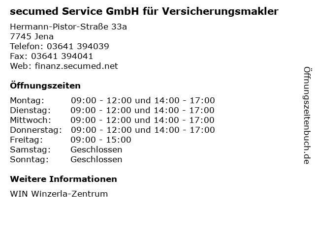 secumed Service GmbH für Versicherungsmakler in Jena: Adresse und Öffnungszeiten