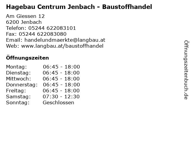 Hagebau Centrum Jenbach - Baustoffhandel in Jenbach: Adresse und Öffnungszeiten
