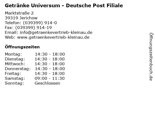 Getränke Universum - Deutsche Post Filiale in Jerichow: Adresse und Öffnungszeiten
