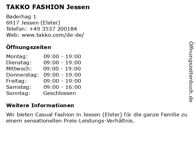 Takko Fashion in Jessen: Adresse und Öffnungszeiten