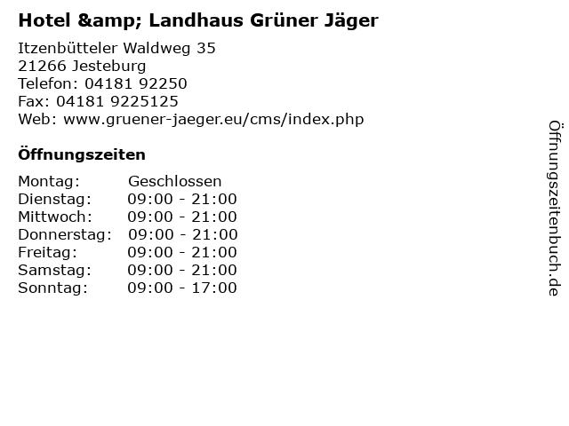 Hotel & Landhaus Grüner Jäger in Jesteburg: Adresse und Öffnungszeiten