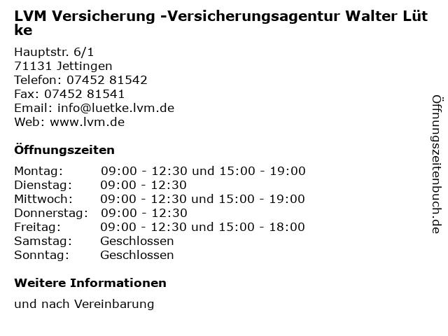 LVM Versicherung -Versicherungsagentur Walter Lütke in Jettingen: Adresse und Öffnungszeiten