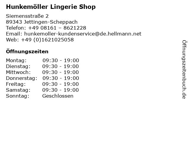 Hunkemöller Lingerie Shop in Jettingen-Scheppach: Adresse und Öffnungszeiten