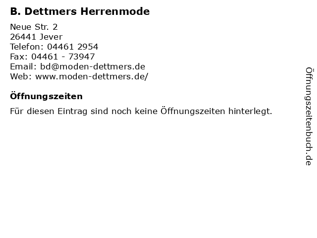 B. Dettmers Herrenmode in Jever: Adresse und Öffnungszeiten