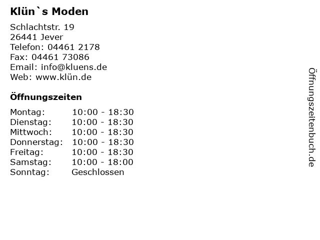 Klün`s Moden in Jever: Adresse und Öffnungszeiten