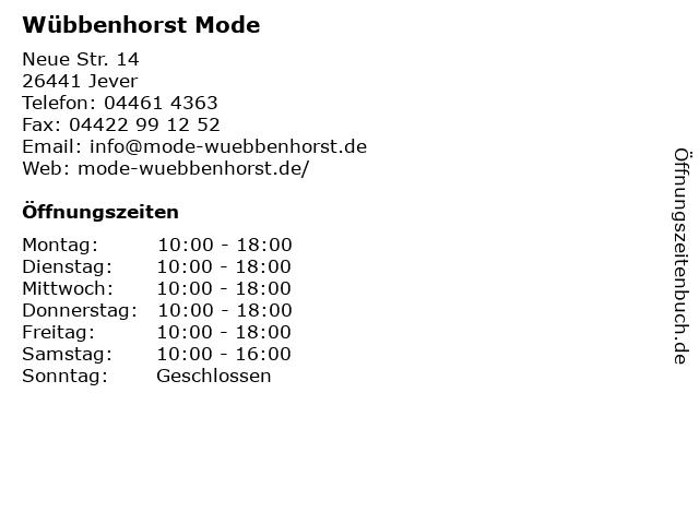 Wübbenhorst Mode in Jever: Adresse und Öffnungszeiten